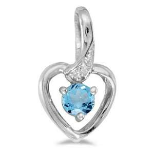 Blue Topaz and Diamond Heart Pendant Necklace 14k White