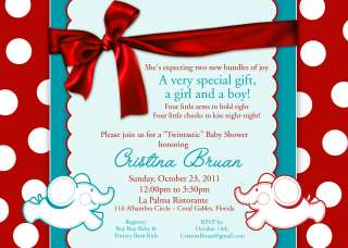 Personalized Baby Shower Elephant Red Aqua Invite