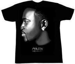 AKON   Air Brush With Bling   Black T shirt Clothing