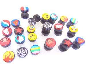 New Logos Body Jewelry Fake Ear Plugs Ear Tunnles Look 00G Pick Logos