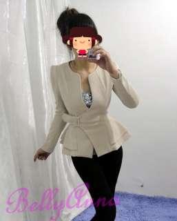 Elegant OL High Quality Slim Cut Belted Pea Coat Jacket Blazer Suit