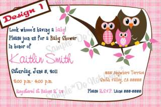 Owl Invitations*Birthday/Baby Shower*4x6* Many Designs
