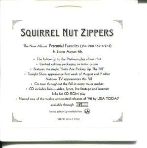 SQUIRREL NUT ZIPPERS IN STORE PLAY PROMO CD SAMPLER