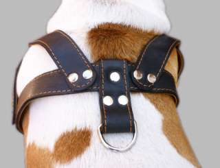 Black Real Leather Dog Harness 1.5 wide 28 34 chest Bulldog Pitbull