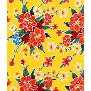 Yellow Hibiscus Oilcloth Fabric