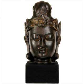 16 Large Cambodian Buddha Head Statue in Faux Antique Bronze Patina