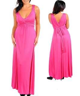 WOMANS PLUS SIZE SEXY FLIRTY LONG FUSCHIA PINK MAXI DRESS 1XL 14/16