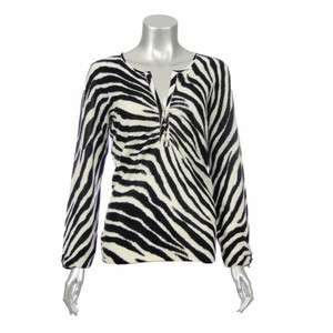Sutton Cashmere Womens Knit Zebra Print Shirt Blouse 1X