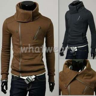 Mens Double Zip Design Slim Stand collar Hoodie Z77