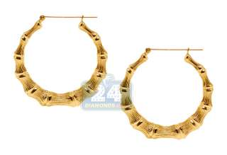 10K Yellow Gold Bamboo Hoop Womens Earrings 1 7/10 inch