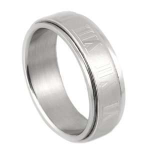 316L Stainless Steel Roman Numeral Spinner Ring   Size 6: Jewelry