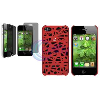 Red Bird Nest Rear Case Cover+Privacy Filter For Apple iPhone 4 4S