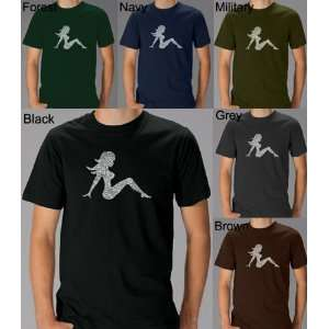 Mens Black Mudflap Girl Shirt XL   Created using the names of all 50