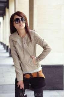 Womens Slim Round Neck Zip Up Leather Jacket Beige Z05
