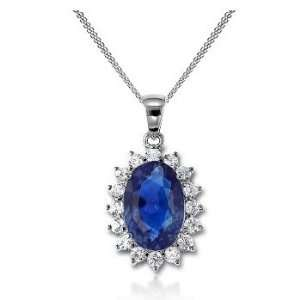 81Ct Oval Cut Sapphire & Diamond Accented Pendant 18k Gold Jewelry