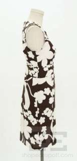 Tory Burch Brown & White Floral Print Silk Sleeveless Dress Size 2