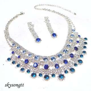 Swarovski Crystal Aqua Blue Pendant Necklace Set S1567N