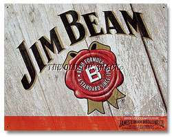 Tin Metal Sign   Jim Beam Woodcut Bourbon Bar Pub Tavern Saloon #1652