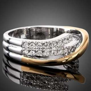 Two tone Arinna Fashion Crystal Gold GP Wedding Rings