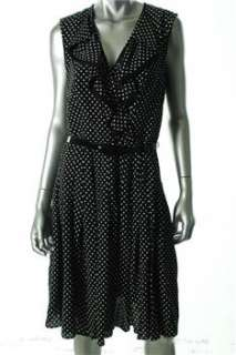 Anne Klein New York NEW Black Versatile Dress Polka Dot Ruffled 10