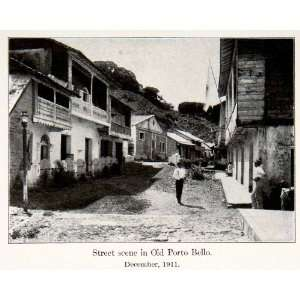 1913 Print Street Scene Cityscape Old Portobelo Panama