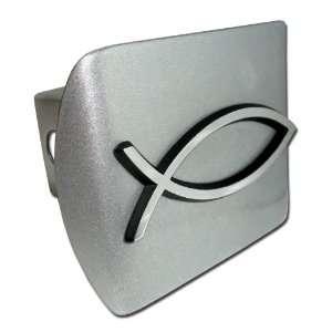 Christian Fish Lord God Jesus Christ Religion Symbol Brushed Silver