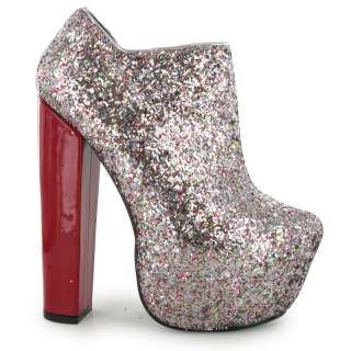 LADIES SILVER GLITTER PARTY BLOCK HEEL PLATFORM WOMENS PARTY BOOTS