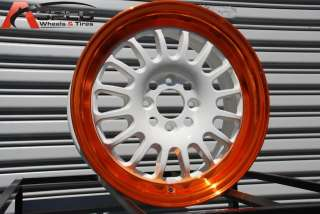ROTA TRACK R 15X7 4X100 ET40 WHITE ORANGE RIMS WHEELS