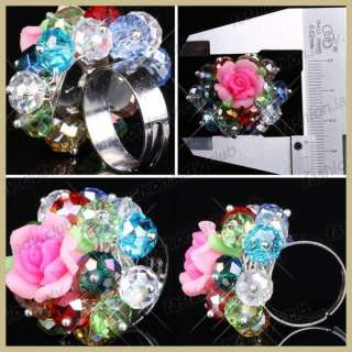Crystal Glass Faceted Beads Ladies Girls Adjustable Ring Gift