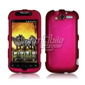 HOT PINK HARD RUBBERIZED CASE + LCD SCREEN PROTECTOR + CAR CHARGER for