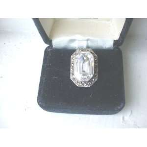 Sterling Silver Marcasite & Crystal Ice Ring