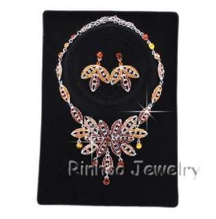 Leaf Champagne Austrian Rhinestone Necklace Earring Set