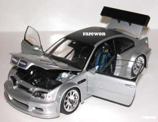 BMW E46 M3 GTR Street SILVER with CARBON FIBER roof, rear spoiler and