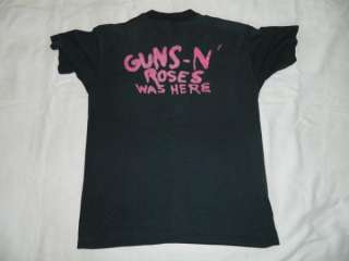 1987 GUNS N ROSES WAS HERE VTG T SHIRT TOUR 80S XL APPETITE FOR