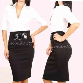 Career Fitted Long High Waist Knee Pencil Skirt Belted