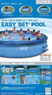 INTEX 18 x42 Easy Set Above Ground Swimming Pool Set 078257398416