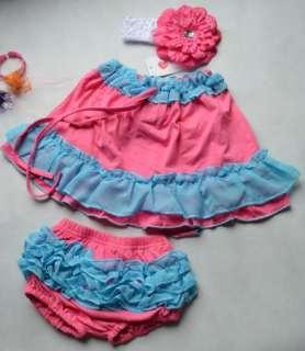 Top Dress+Pants+Headband Set 0 24Months Bloomers Clothing NWT