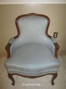 Ethan Allen Country French Carved Blue Damask Upholstered Chair Room