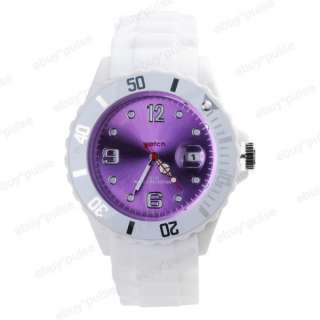 Band Date Calendar Jelly Unisex Sport Quartz Wrist Watch Gift