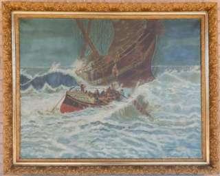 Original Seascape Sailing Ship Wreck Rescue Oil Ar Paining |