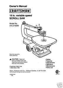 Craftsman 16  Scroll Saw Manual Model # 315.216260