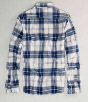 MENS XXXL 3XL PLAID FLANNEL WORK WEAR BLUE WHITE SHIRT NEW AE