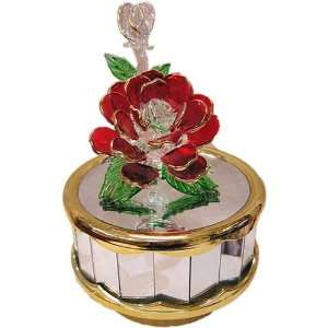 Red Rose Glass Music Box