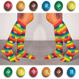 M&Ms Mars Candy Bright Novelty Knee High Toe Socks (Set