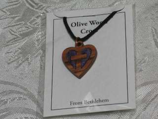 Olive Wood Inlay Delicate Heart Cross Pendant Necklace Bethlehem Holy