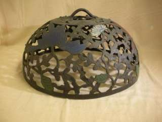 VINTAGE ANTIQUE 18 HAND PAINTED CAST IRON LAMP SHADE Floral Design In