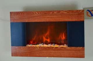 GV Modern Wood Trim Panel Electric Fireplace Heater Wall Mount Pebbles