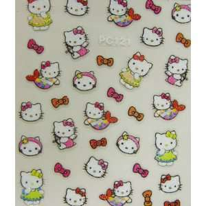 XH Pretty and cute hello kitty nail art stickers with bow
