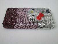 3D Purple Hello Kitty Swarovski Crystal Case Cover for iPhone 4 Black