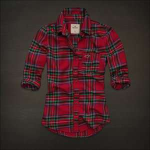 NWT Hollister by Abercrombie Women Plaid Shirt, Shelter Island,Red